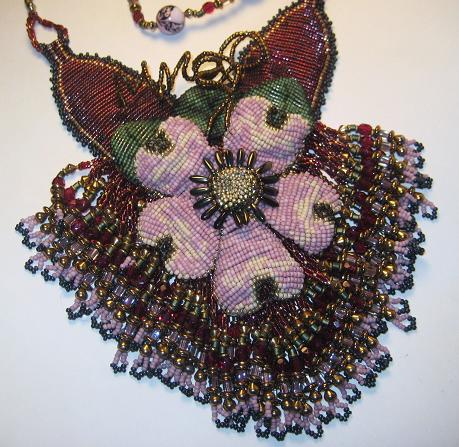 Beaded Pink Corsage Necklace