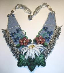 Beaded Violets Art Blue Necklace